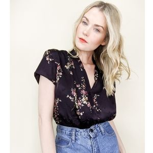 90s Black Floral Silk Button Down Pleated Front